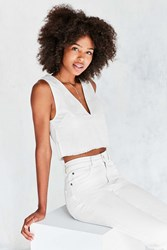 Silence And Noise Sabrielle Fray Hem Tank Top White