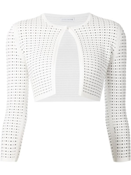 Narciso Rodriguez Perforated Cropped Cardigan White