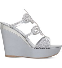 Rene Caovilla Swarovski Embellished Leather Wedge Sandals Grey