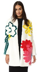 Mira Mikati Happy Flowers Faux Fur Coat White Multi
