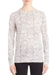Proenza Schouler Long Sleeve Printed Cotton Jersey Tissue Tee White Black