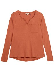 Fat Face Notch Neck Jersey Top Burnt Red