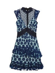Self Portrait Daisy Applique Lace Dress Navy