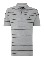 Army And Navy Ernest Striped Polo Grey Marl