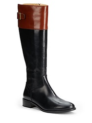 Saks Fifth Avenue Made In Italy Two Tone Riding Boot Black Cognac