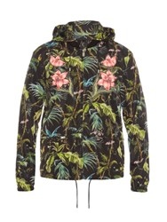 Gucci Detachable Hood Jungle Print Nylon Bomber Jacket Green Multi