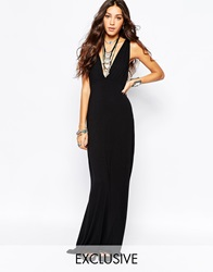 Rokoko Sexy Plunge Neck Maxi Dress With Strap Back Detail Black