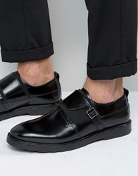 Asos Monk Shoes In Black Leather With Strap Buckle Detail Black