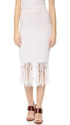 Jonathan Simkhai Shredded Linen Pencil Skirt Ivory