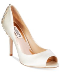 Badgley Mischka Nilla Peep Toe Evening Pumps Women's Shoes Ivory