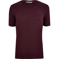River Island Mens Dark Red Chunky Ribbed Muscle Fit T Shirt