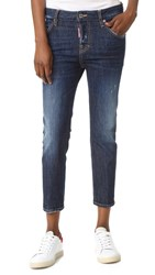 Dsquared Cool Girl Cropped Jeans With Patches Blue