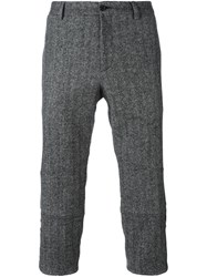 Dolce And Gabbana Tweed Cropped Trousers Grey