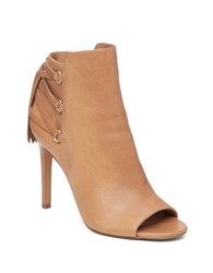 Vince Camuto Kimina Leather Corset Booties Beige
