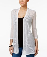 Charter Club Petite Open Front Pointelle Cardigan Only At Macy's Bright White
