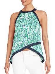 Collective Concepts Printed Layered Top Green Multi