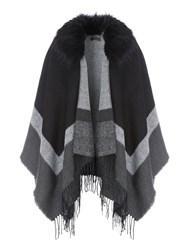 Jane Norman Fur Trim Cape Cardi Black