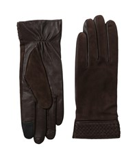 Cole Haan Braided Cuff Suede Gloves With Tech Brown Extreme Cold Weather Gloves