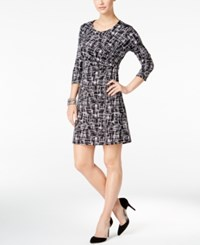 Ny Collection Petite Printed Ruched Dress Ebony Gridmaze