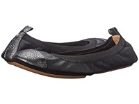 Yosi Samra Samantha Soft Leather Fold Up Flat W Crackled Metallic Captoe Black Dark Silver Women's Shoes