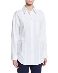 Grey By Jason Wu Relaxed Long Sleeve Button Front Poplin Shirt Optic White Shell White