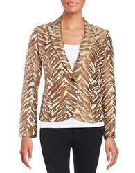 Anne Klein One Button Jacquard Blazer Brown White