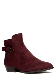 Evans Extra Wide Fit Berry Print Pointed Boot Red