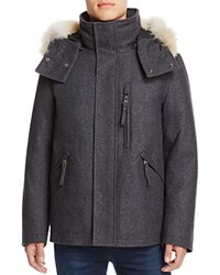 Marc New York Fremont Fur Trim Hooded Coat Heathered Charcoal