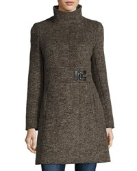 Via Spiga Tweed Funnel Neck Coat Brown