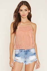 Forever 21 Embroidered Semi Sheer Cami