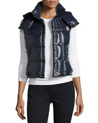 Moncler Galene Shiny Hooded Vest Black