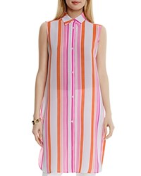 Two By Vince Camuto Striped Tunic Top Orange Fizz