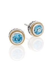 Effy Blue Topaz Sterling Silver And 18K Yellow Gold Button Earrings Silver Blue