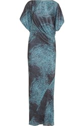 Maria Grachvogel Hawk Draped Printed Silk Gown Blue