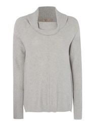 Label Lab Cowl Silk Mix Textured Jumper Light Grey Marl