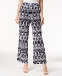Alfani Printed Wide Leg Pants Only At Macy's Navy White