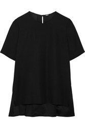 Adam By Adam Lippes Pleated Crepe Top Black