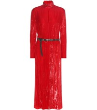 Nina Ricci Metallic Velvet Midi Dress Red
