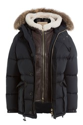Burberry Brit Down Jacket With Fur Trimmed Hood Blue