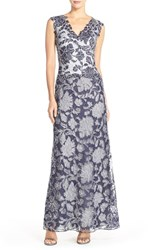 Women's Tadashi Shoji Embroidered Lace Gown Royal Navy