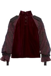 Sacai Velvet And Embroidered Chiffon Top Burgundy