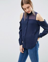 Asos Cold Shoulder Blouse With Sheer Panel Navy