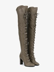 Jimmy Choo Maloy 95 Leather Over The Knee Boots Grey