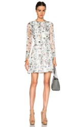 Adam By Adam Lippes Adam Lippes Fitted Mini Dress In White Floral Animal Print Green