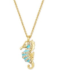 Kate Spade New York Gold Tone Blue Enamel And Pave Seahorse Pendant Necklace