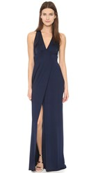 Yigal Azrouel Wrap Front Gown Midnight