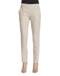 Vince Easy Narrow Cotton Blend Pull On Pants Linen