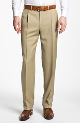 Men's Big And Tall Canali Pleated Trousers Taupe