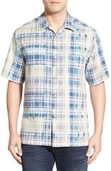 Men's Tommy Bahama 'Island Zone Plaid' Original Fit Silk Blend Camp Shirt Waterfront