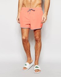 Asos Short Length Runner Swim Shorts In Coral With Contrast Binding Coral Orange